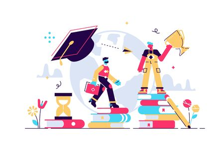 Education vector illustration. Tiny knowledge learning person concept. School, university and college graduation. Personal growth degree and development using book research, teacher and literature Stock Illustratie