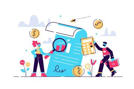 Audit vector illustration. Mini persons
