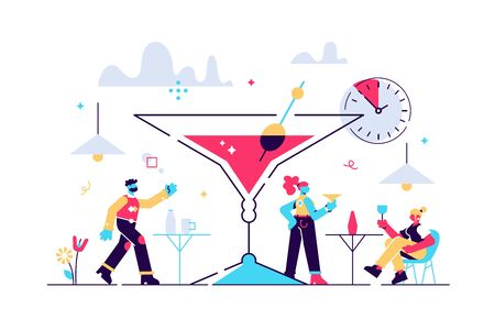 Happy hour vector illustration. Flat tiny cheap alcohol time persons concept. Get second drink for free promotion in bars and pubs. Refreshment beverage special discount. Fun booze advertisement shots
