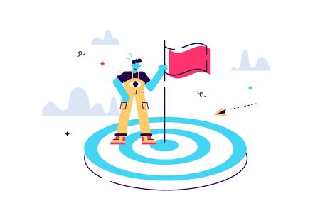 Vector illustration aimed at a goal, increase motivation, a way to achieve a goal, a businessman in the center with a flag. Flat style modern design vector illustration for web page, cards, poster Çizim