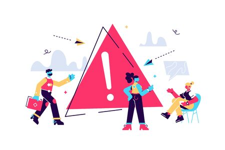 Business concept vector illustration, disconnection from the Internet, unavailable, few people get angry, an error occurred. Flat style modern design vector illustration for web page, cards, poster