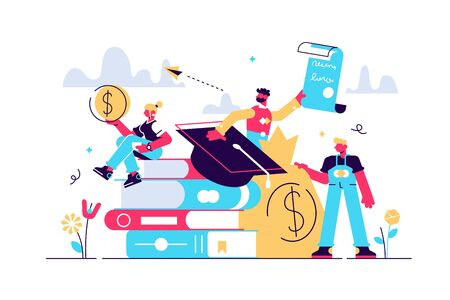 Student loans vector illustration. Flat tiny study finance persons concept. Education investment banking business. Economical system to get money for college or university. Payment obligation symbol. Stock Illustratie