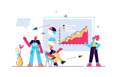 Presentation vector illustration. Flat infographics publication and speech. Mentor answers to seminar questions. Training conference and couch lecture. Teacher and leader educates business audience.