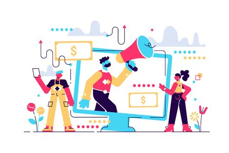 Affiliate marketing flat vector illustration. Business commercial and advertisement strategy type using SEO, pay per click and mail. Human handshake and cooperation. Stock Illustratie