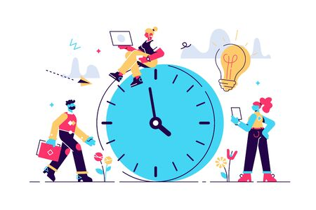 Vector illustration, alarm clock rings on white background, concept of work time management, quick reaction awakening. Flat style modern design vector illustration for web page, cards, poster Stock Illustratie