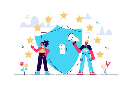Vector illustration. General rules for data protection GDPR. The European Commission strengthens and unifies the protection of personal data. control over their personal data.