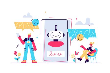 Chatbot vector illustration. Mini persons talk with digital robot concept. Artificial intelligence friendship or bonding with human. Smartphone assistant service. Social live speech substitute with AI Stock Illustratie