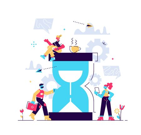 Vector illustration, hourglass on white background, time management concept, quick response. Flat style modern design vector illustration for web page, cards, poster Illusztráció