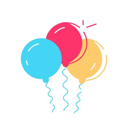 Bunch of balloons in cartoon flat style isolated on white background. Vector set. Flat style modern design vector illustration for web page, cards, poster