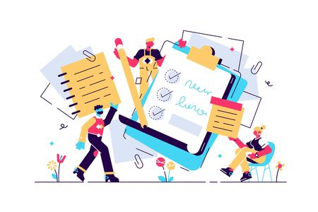 Notes vector illustration. Flat tiny paper textbook write persons concept. Stationery blank sheets for diary, memos or sketch making. Empty checklists, organizers and clean information notebook pages. Stock Illustratie