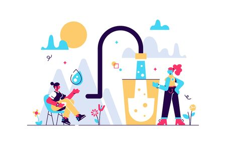 Clean mineral mountain water vector illustration. Flat tiny potable drinking persons concept. Fresh and clear natural drink for healthy and safe environment. Save earth with pure liquid consumption. Stock Illustratie