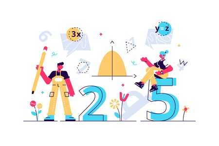 Mathematics vector illustration. Flat mini persons education concept. Algebra symbols with geometry figures used learning science in school or university. Arithmetic knowledge symbols collection set. 向量圖像
