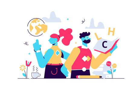 Teachers day vector illustration. Flat tiny world educators holiday persons concept. October academic occupation celebration time. University and school profession symbolic appreciation greeting time. 向量圖像