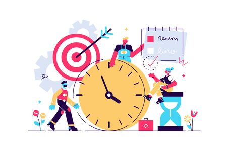 Discipline vector illustration. Flat tiny self control system persons concept. Abstract target and to do list symbolic success lifestyle with productive time management and goal effort development. Vektorgrafik