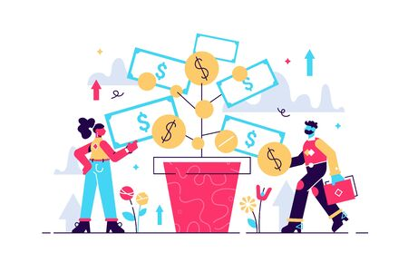 Investing vector illustration. Deposit profit and wealth growing business. Teamwork persons cultivate money to fund future business. Increase income dollars with successful bank investor strategy. Stock Illustratie