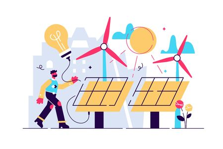 Solar energy vector illustration. Flat tiny sustainable alternative energy persons concept. Renewable electricity power with sun panels and wind turbine. Clean or environmental renewable supply option