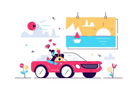 Movies vector illustration. Flat tiny media film theater persons concept. Outside drive in digital multimedia entertainment with projection screen performance. Abstract cinematography visualization.