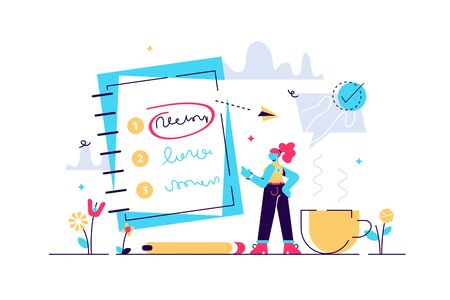 Priorities vector illustration. Flat tiny agenda importance to do list persons concept. Work planning and management to boost your efficiency. Checklist with goal prioritize and urgency choice process