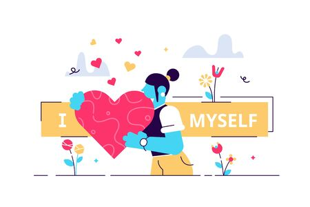 Self esteem vector illustration. Flat tiny personal confidence persons concept. Psychological mindset and life attitude as pride, appreciation and acceptance feeling. Mental and moral self respect. Stock Illustratie
