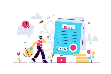 Pay fine vector illustration. Flat tiny punishment document persons concept. Municipal tax or parking fee as penalty from authority. Financial police charge bill for speeding or traffic law offense.