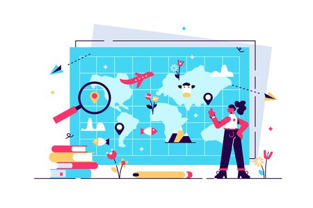Geography vector illustration. Flat tiny atlas earth study persons concept. Abstract topography science and knowledge learning from teacher in school or university. Mapping and environment research. Stock Illustratie