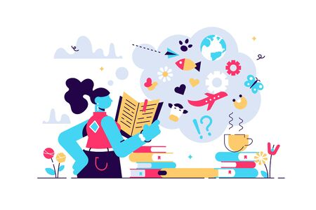 Reading vector illustration. Flat tiny expand knowledge horizons person concept. Book, encyclopedia and other information source study, research or explore lifestyle for personality wisdom development
