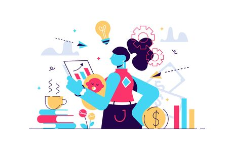 Multitasking busy mom and business woman,vector illustration tiny person concept. A woman trying to juggle and balance family life,kids,career and house work. Mother's troubled mind confused thoughts. Stock Illustratie