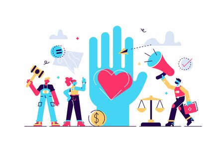 Human rights vector illustration. Flat tiny equal and variety persons concept. No racism, gender or sexual discrimination movement. Freedom, love and equality symbol. Protest for tolerance and respect Stock Illustratie