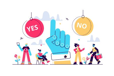 Choose vector illustration. Flat tiny options choice process persons concept. Symbolic scene with yes or no answers and decision making. Positive or negative persuasion and convince visualization. Stock Illustratie
