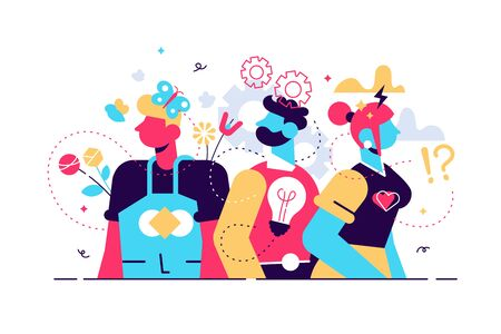 Behavior vector illustration. Flat tiny feelings expression persons concept. Various facial emotion and gestures communication styles collection. Personality type and psychological mindset difference. Stock Illustratie