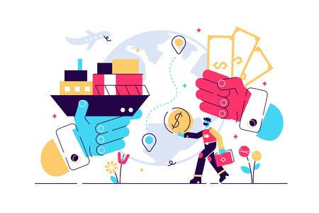 Trade vector illustration. Flat tiny success global financial deals persons concept. Abstract symbolic international economy export market visualization and company partnership cooperation management. Stock Illustratie