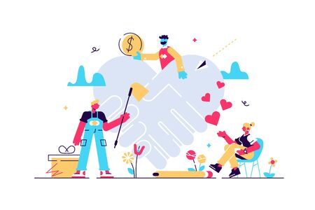Voluntary help concept, flat tiny persons vector illustration. Global health and financial crisis aid, and charity foundation activity. Social help support program. Abstract heart handshake symbol. Stock Illustratie