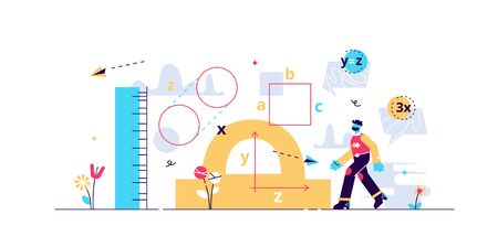 Geometry vector illustration. Flat tiny mathematics study persons concept. Shape, size and figures research with measurement instruments. Student knowledge learning with technical trigonometry axioms. Stock Illustratie