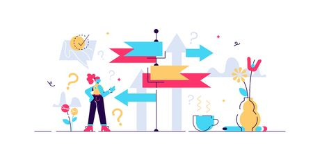 Decision making vector illustration. Flat tiny choose options person concept. Career, life and question decisions process visualization. Different professional direction confusion and crossroad puzzle
