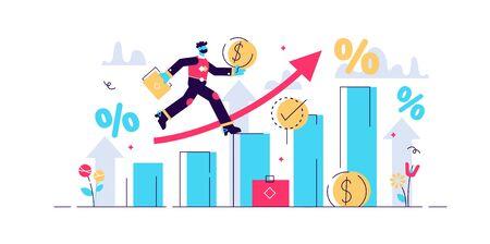 Financial forecast vector illustration. Flat tiny economical persons concept. Money growth prediction and progress report. Symbolic company sales improvement statistics calculation and measurement.