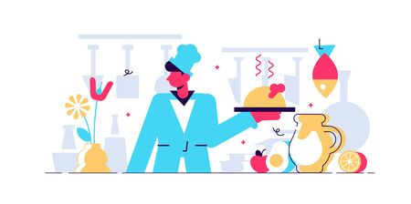 Chef vector illustration. Flat tiny professional cooking occupation persons concept. Work and job in kitchen with dishes, tasty fresh food and healthy culinary. Gourmet cook with restaurant uniform. Stock Illustratie