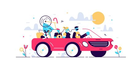 Family camping road trip concept, flat tiny persons vector illustration. Vacation weekend holiday journey in the sunset with mom, dad, son and loved dog. Loaded roof with luggage and leisure equipment Stock Illustratie