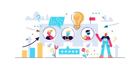 Feedback vector illustration. Flat tiny opinion research persons concept. Customer satisfaction and quality survey method. Stars and smileys signs consumer as poll, rating and choice review symbols. Stock Illustratie