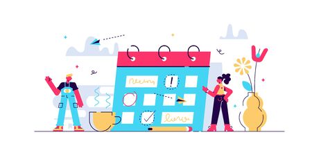 Planning vector illustration. Flat mini persons concept with schedule calendar. System to organize daily routine. Time management chart graphic to structure deadline meetings, agenda or appointments.