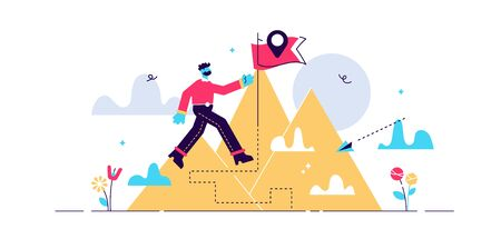 Pioneer vector illustration. Flat tiny first exploration persons concept. Abstract innovation path visualization. Adventurous business strategy for new field research. Discovery expedition celebration Stock Illustratie