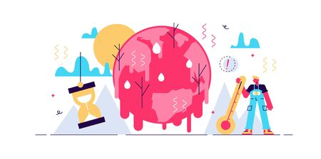 Melting earth vector illustration. Tiny poles ice warming persons concept. Hot climate environment danger with temperature rising and greenhouse effect anomaly. Disaster weather cataclysm ice danger. Stock Illustratie