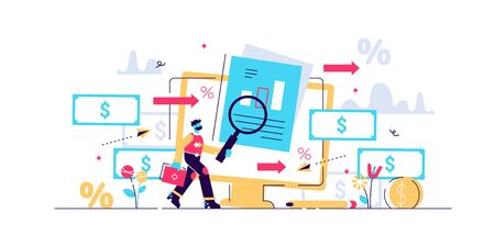 Cash flow vector illustration. Flat tiny money management person concept. Financial wealth payment and income graph analysis. Accounting economical data report chart. Abstract expenses control system. Stock Illustratie