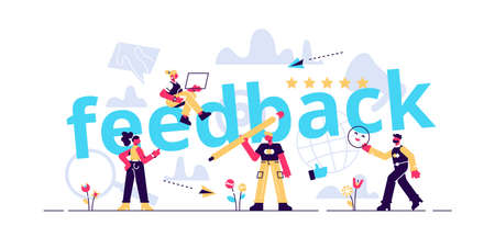 Feedback concept illustration. Idea of reviews and advices. Flat style vector