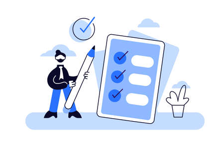 Task done vector illustration. Flat tiny check to do list persons concept. Symbolic positive