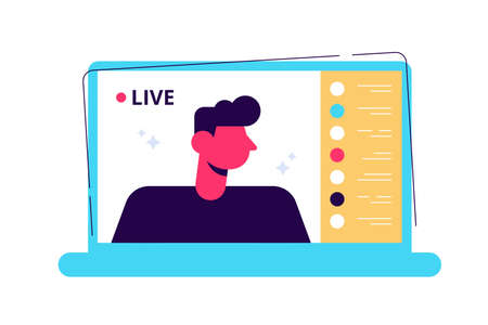 Young male blogger holding a live streaming online event 向量圖像