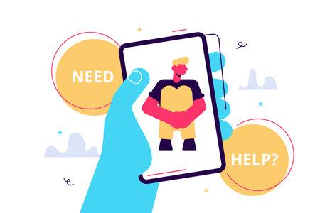Crisis hotline. Need help Hand holding a smartphone. New technologies Vektorgrafik