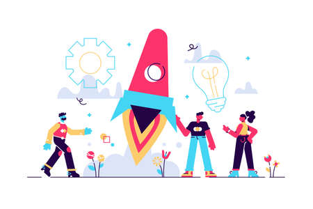 vector illustration people are building a spaceship rocket. cohesive