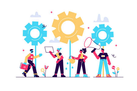 Flat vector illustrations, team work on finding new ideas, little people 向量圖像
