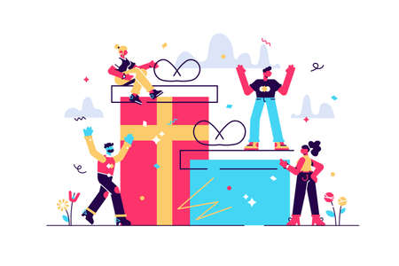 vector illustration of joyful people, employee receives a gift, online reward