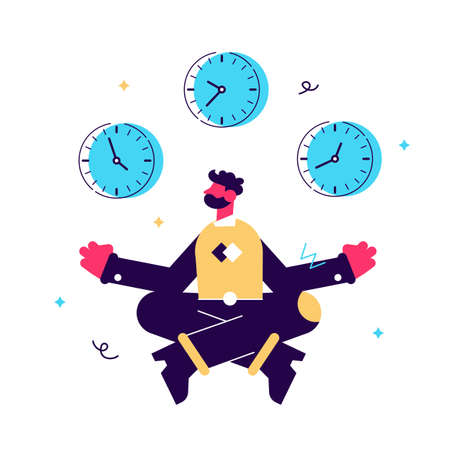 Vector illustration, concept of meditation during working hours 向量圖像